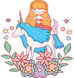 Cute mermaid with unicorn and floral decoration vector