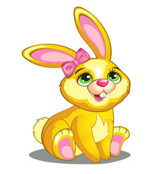 Cute yellow bunny with pink bow and ears vector