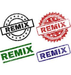 Damaged textured remix stamp seals vector