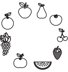 Delicious and fresh fruits vector
