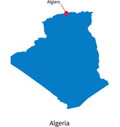 Detailed map of Algeria and capital city Algiers vector