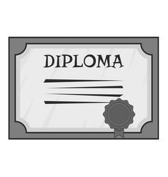 Diploma icon gray monochrome style vector