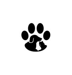 Dog and cat paw logo design inspiration vector