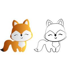 Drawing red fox vector