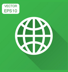 earth planet icon in flat style globe geographic vector image