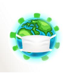 Earth with medical mask coronavirus vector