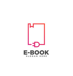 Ebook logo online education logo design vector