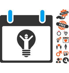 Electrician calendar day icon with lovely bonus vector