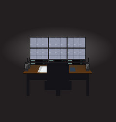 empty workplace security guard room tv sets vector image