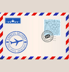 envelope with stamps and postmarks international vector image