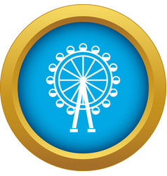 Ferris wheel icon blue isolated vector
