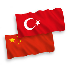 flags turkey and china on a white background vector image