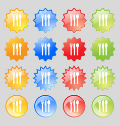 fork knife spoon icon sign Big set of 16 colorful vector image