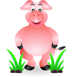 funny standing pig cartoon vector image