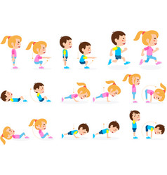 Girl and boy children fitness exercise set vector