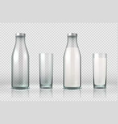 Glass and bottle with milk realistic empty half vector