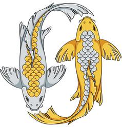 gold and silver colored koi carp fish vector image