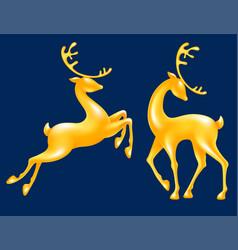 golden figurine standing deer and jumping deer vector image