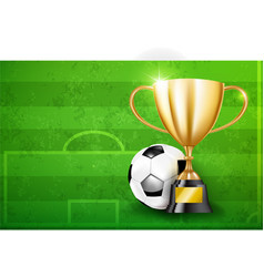 Golden trophy cups and soccer ball 002 vector
