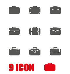 grey briefcase icon set vector image