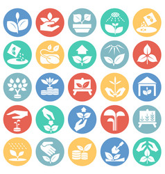 Grow icons set on color circles white background vector