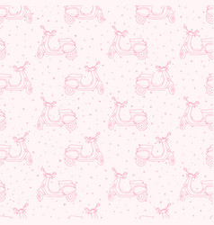 hand drawn seamless pattern with retro scooters vector image