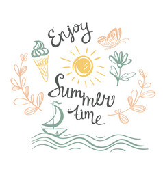 Hand drawn summer poster vector