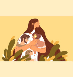 Happy woman feeling love affection and emotional vector