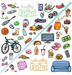 Healthy Lifestyle vs Unhealthy Lifestyle vector