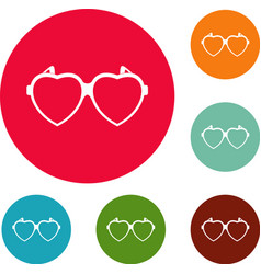 Heart eyeglasses icons circle set vector