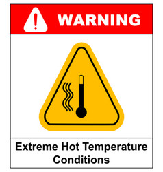 high temperature warning sign vector image