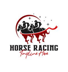 horse racing sports logo design vector image