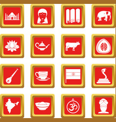 India travel icons set red vector