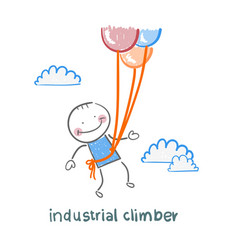 Industrial climber flies on balloons vector