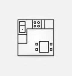 kitchen plan linear concept simple icon vector image