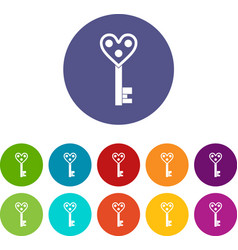 Love key icons set flat vector