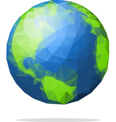 low poly earth globe with shadow vector image