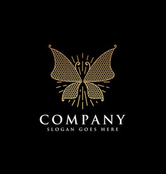 luxury butterfly logo icon with flower life vector image