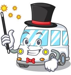 Magician ambulance mascot cartoon style vector
