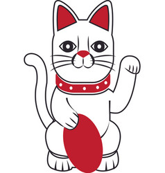 Maneki-neko cat sitting lucky japanese culture vector
