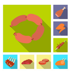meat and ham icon set of vector image