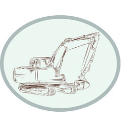 Mechanical Digger Excavator Oval Etching vector
