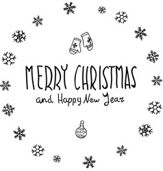 Merry christmas black glittering lettering design vector