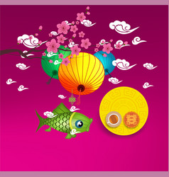 Mid autumn lantern festival background chinese vector