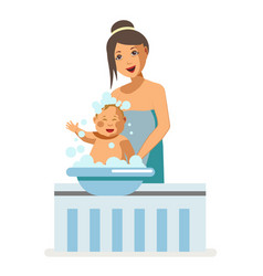 Mother bathing newborn baby child maternity vector