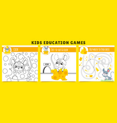 Mouse kids games coloring game mouse find cheese vector