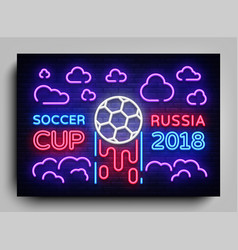 neon flyer cup football 2018 in russia soccer cup vector image