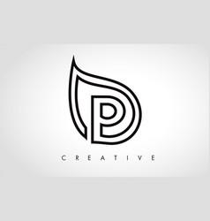 p leaf logo letter design with leaf outline vector image