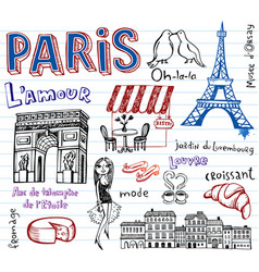 paris doodles vector image