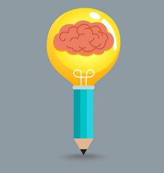 Pencil Brain Bulb vector